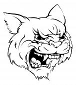 stock photo of wildcat  - A black and white illustration of a fierce wildcat animal character or sports mascot - JPG