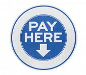 Pay here municipal parking meter sign isolated with clipping path.