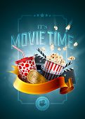 Movie concept poster design template. Detailed vector illustration.