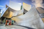LOS ANGELES, CALIFORNIA - November 7, 2013: Walt Disney Concert Hall in LA. The building was designed by Frank Gehry and opened in 2003.