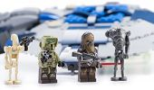 Ankara, Turkey - April 24, 2014: Lego Star Wars Droid Gunship with minifigures isolated on white bac