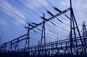 image of substation  - evening electricity power stations in China - JPG