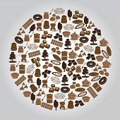 Chocolate Brown Icons Set In Circle Eps10