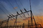 picture of substation  - Electrical substation on the sunset background - JPG