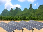 Renewable Solar Power Plants In The Beautiful Scenery Of The Mountain