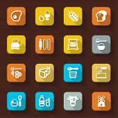 Dairy Products Egg Bread Sugar Flat Icons