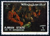 Postage Stamp Ajman 1973 Adoration Of The Kings