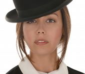 Nice Image of a latino woman with bowler Hat on white