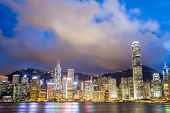 Hong Kong Skyline from Victoria Harbour at dusk