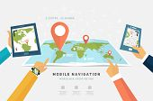 World Map. Mobile GPS Navigation. Tablet PC and Mobile Phone.