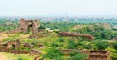Ruins of Tughlaqabad Fort in Delhi, India