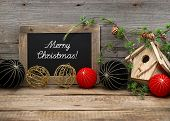 Vintage Christmas Decoration With Blackboard And Balls