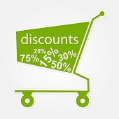 Label Shopping Cart With Discount. Modern Design Element.