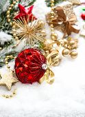 Christmas Composition With Red Balls Und Golden Decoration