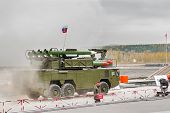 Buk-M1-2 surface-to-air missile systems in smoke