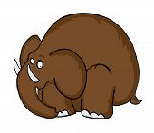 Cartoon Mammoth, prehistoric Animal, vector illustration