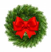 Christmas Decoration Evergreen Wreath Wit Red Ribbon Bow
