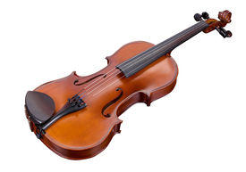 stock photo of musical instrument string  - classic violin isolated on a white background - JPG