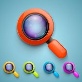 Set of magnifying glass. Vector