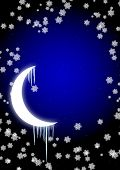 Winter fairy-tale - icicles on moon in the night sky