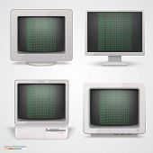 Set of retro computers. Vector