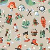 Modern flat design pattern of camping and hiking info graphics elements