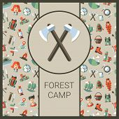 Modern flat design illustration of camping and hiking info graphics elements