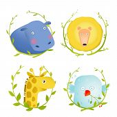 African Animals Fun Cartoon Portraits with Wreath