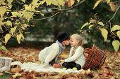 Children in the autumn forest