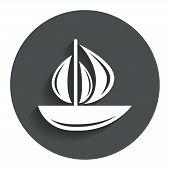 Sail boat icon. Ship sign.