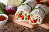 Burrito With Chicken And Vegetables With Ingredients, Horizontal
