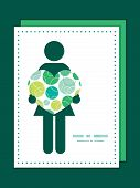 Vector abstract green circles woman in love silhouette frame pattern invitation greeting card templa