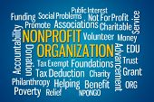 pic of word charity  - Nonprofit Organization word cloud on Blue Background - JPG