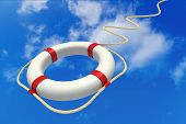 Picture of life preserver in sky.