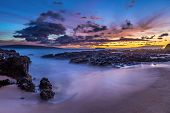 image of long beach  - Tropical beach at sunset - JPG
