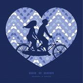 image of tandem bicycle  - Vector purple drops chevron couple on tandem bicycle heart silhouette frame pattern greeting card template graphic design - JPG