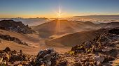 picture of pacific islands  - Volcanic landscape at Sunrise from the lookout at the 10000 foot summit of Haleakala  on the tropical island of Maui - JPG
