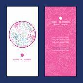 Vector gray and pink lineart florals vertical round frame pattern invitation greeting cards set