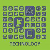 technology, computer, internet, information, communication, connection, mail icons, signs, illustrations set, vector