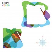 Abstract vector color map of Egypt with transparent paint effect.