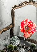 Wooden Chair Red Flower