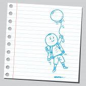 School kid fly with balloon