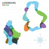 Abstract vector color map of Luxembourg with transparent paint effect.