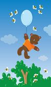 Little bear with balloon and bees