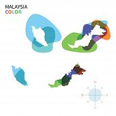 Abstract vector color map of Malaysia with transparent paint effect.