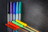 Set Of Colorful Pens For Office, Constructor And Schools
