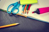 School Supplies On Black Background, Vintage Color Tone