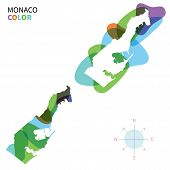 Abstract vector color map of Monaco with transparent paint effect.