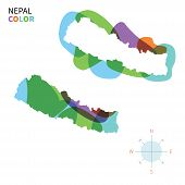 Abstract vector color map of Nepal with transparent paint effect.