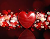 Valentine's Day background with a 3d heart on a red and gold bokeh lights design